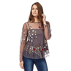 Red Herring - Grey floral embroidered top