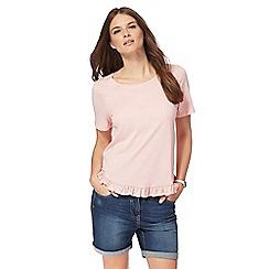 Red Herring - Pink ruffled hem t-shirt