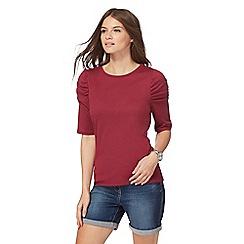 Red Herring - Dark pink ruched sleeve top