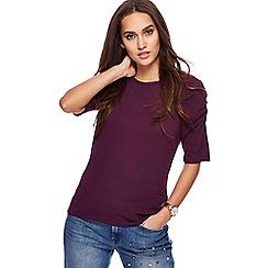 Red Herring - Purple ruched sleeves top