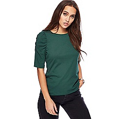 Red Herring - Green ruched sleeves top