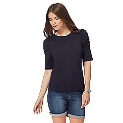 Red Herring - Navy ruched sleeve top
