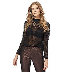 Red Herring - Black lace puff sleeves top