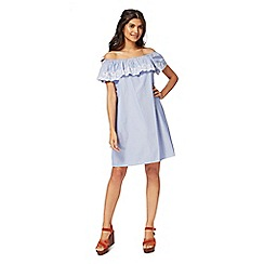 Red Herring - Light blue striped print Bardot neck mini length shift dress