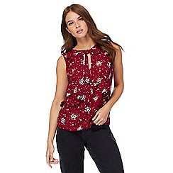 Red Herring - Dark red floral print pussy bow shell top