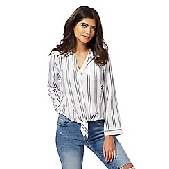 Red Herring - White striped tie front shirt