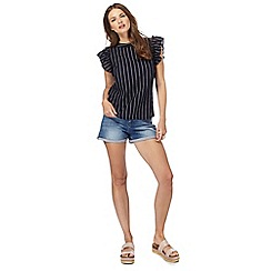 Red Herring - Navy striped ruffle top