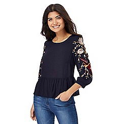 Red Herring - Navy floral embroidered top