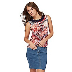 Red Herring - Multi-coloured paisley print shell top