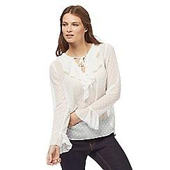 Red Herring - White textured spot ruffle blouse