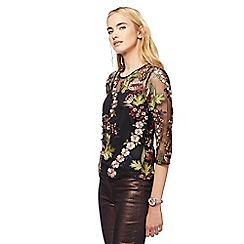 Red Herring - Black floral embroidered sheer top