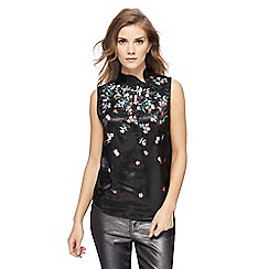 Red Herring - Black satin floral embroidered top