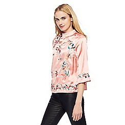 Red Herring - Pink floral embroidered top
