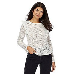 Red Herring - Ivory lace ruffle top