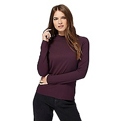 Red Herring - Dark purple ribbed turtle neck top