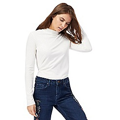 Red Herring - Ivory ribbed turtle neck top
