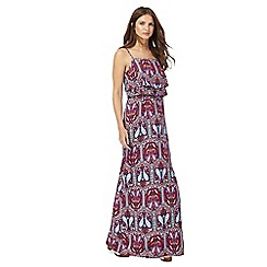 Red Herring - Multi-coloured paisley print high neck maxi dress