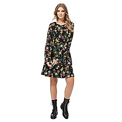 Red Herring - Black floral print flute sleeves skater dress