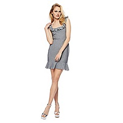 Red Herring - Silver scuba 'Tracey' mini length peplum dress