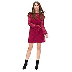 Red Herring - Pink lace high neck mini dress