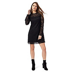 Red Herring - Black lace high neck long sleeves mini dress