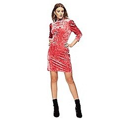 Red Herring - Pink velvet high neck 3/4 sleeves mini dress