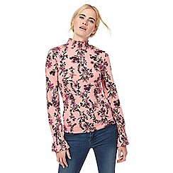 Red Herring - Pink floral print shirred roll neck top
