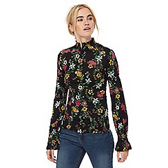 Red Herring - Black floral print shirred roll neck top