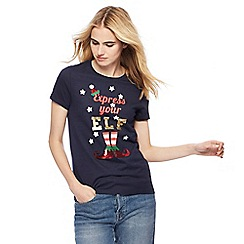 Red Herring - Navy 'Express your elf' print t-shirt