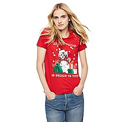 Red Herring - Red 'Santa Paws' print t-shirt