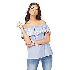 Red Herring - Light blue embroidered Bardot top