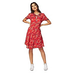 Red Herring - Red floral print midi length tea dress