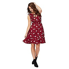Red Herring - Dark red floral print V-neck knee length tunic dress