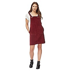 Red Herring - Dark red knee length pinafore dress