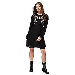 Red Herring - Black embroidered floral dress