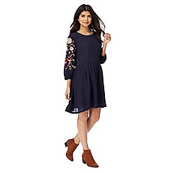 Red Herring - Navy floral embroidered tunic dress