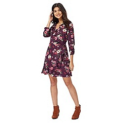 Red Herring - Purple floral print v-neck wrap dress