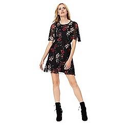 Red Herring - Black floral print mini skater dress