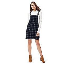 Red Herring - Dark green checked mini pinafore dress