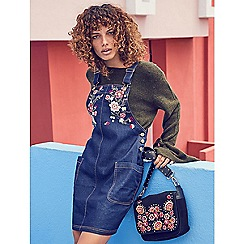 Red Herring - Dark blue floral embroidered denim mini pinafore dress