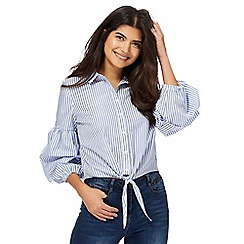 Red Herring - Blue stripe ruched sleeve shirt