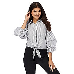 Red Herring - Black stripe ruched sleeve shirt