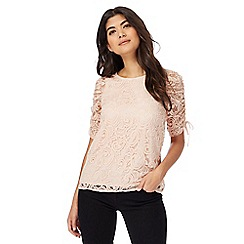 Red Herring - Light pink ruched sleeves lace top