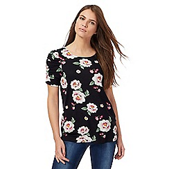 Red Herring - Black floral print ruched sleeves top
