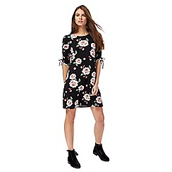 Red Herring - Black floral print jersey mini dress
