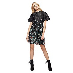 Red Herring - Black floral print high neck mini skater dress