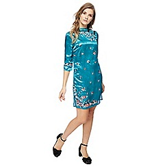 Red Herring - Turquoise satin floral embroidered high neck mini dress