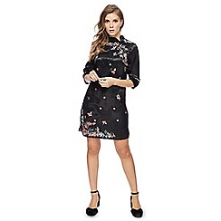 Red Herring - Black floral embroidered satin high neck mini dress