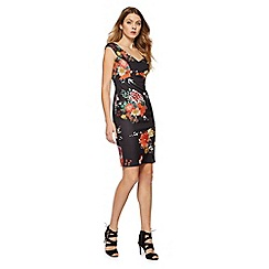 Red Herring - Black floral print scuba 'Louise' V-neck shift dress