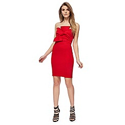 Red Herring - Red scuba 'Georgia' bandeau mini bodycon dress